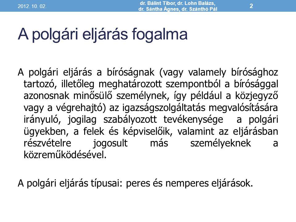 A polgári nemperes eljárások fajai 2012.10. 02. dr.
