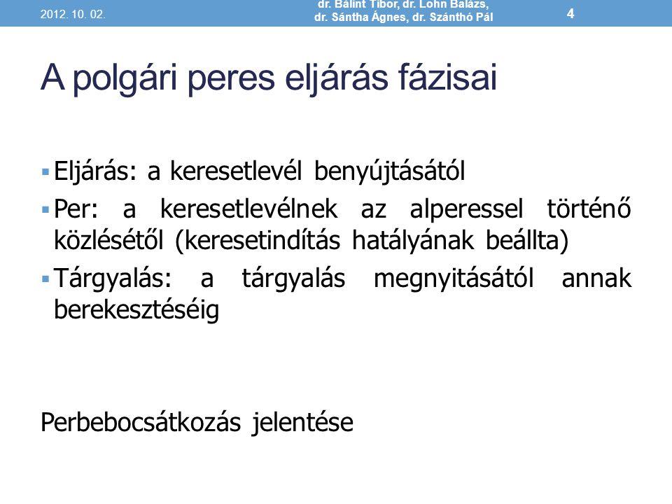 A polgári peres eljárás fázisai  Eljárás: a keresetlevél benyújtásától  Per: a keresetlevélnek az alperessel történő közlésétől (keresetindítás hatá