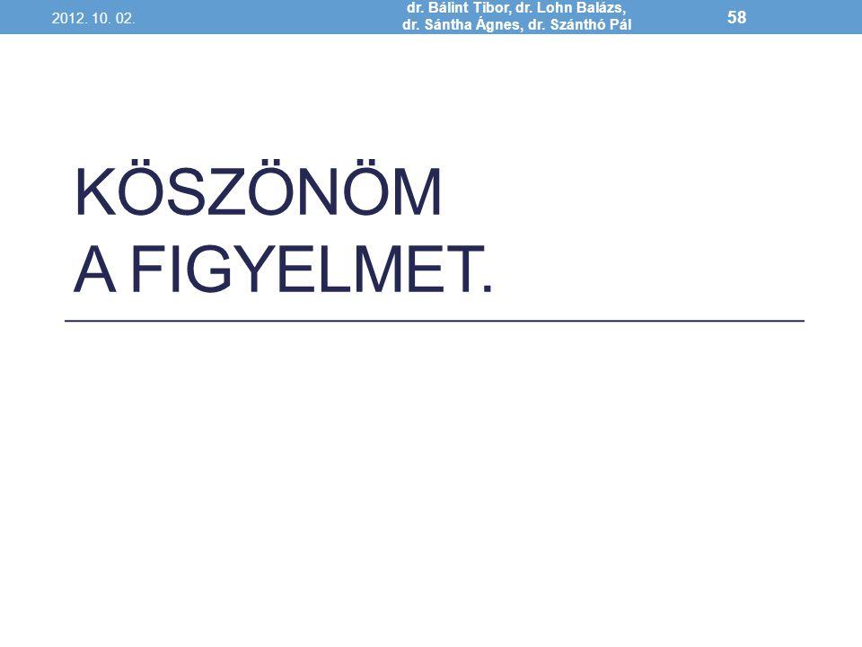 KÖSZÖNÖM A FIGYELMET. 2012. 10. 02. dr. Bálint Tibor, dr. Lohn Balázs, dr. Sántha Ágnes, dr. Szánthó Pál 58
