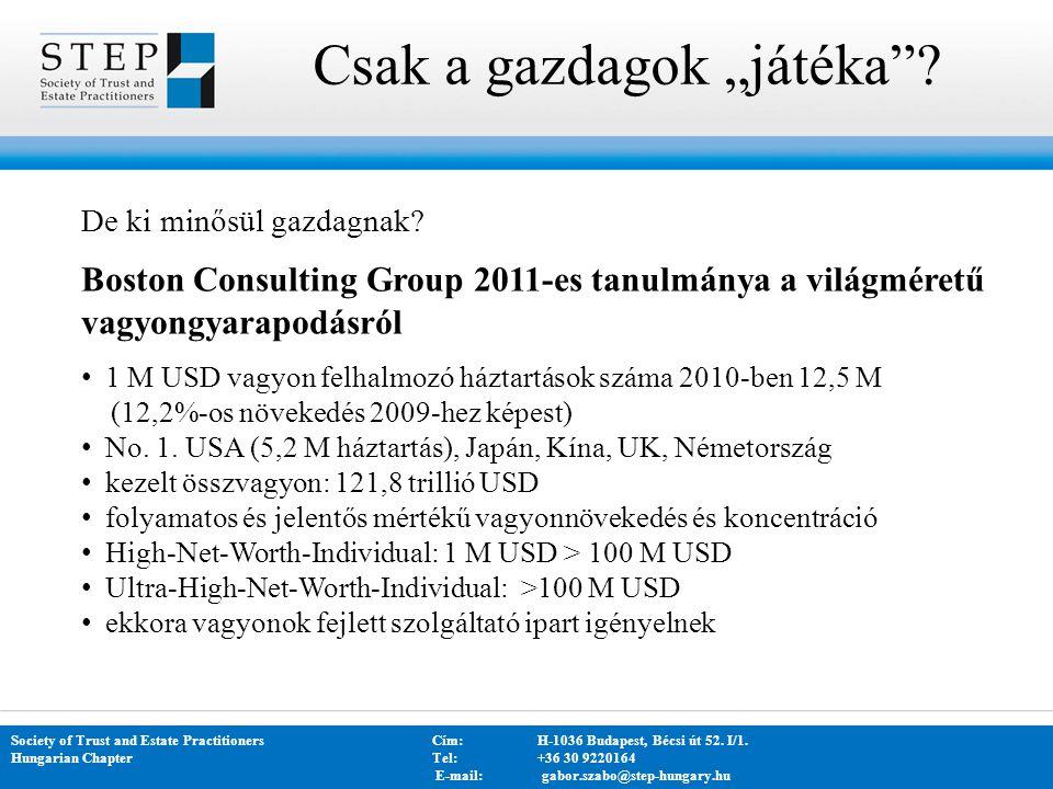"Csak a gazdagok ""játéka""? Society of Trust and Estate PractitionersCím: H-1036 Budapest, Bécsi út 52. I/1. Hungarian Chapter Tel:+36 30 9220164 E-mail"