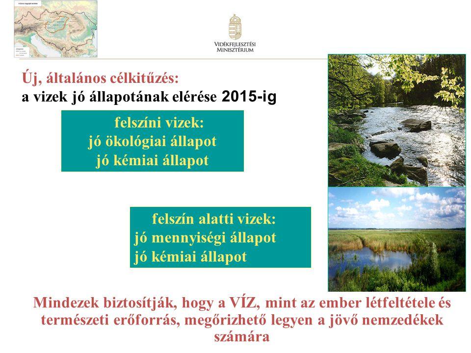 13 felszín alatti vizek: jó mennyiségi állapot jó kémiai állapot felszíni vizek: jó ökológiai állapot jó kémiai állapot Mindezek biztosítják, hogy a VÍZ, mint az ember létfeltétele és természeti erőforrás, megőrizhető legyen a jövő nemzedékek számára Új, általános célkitűzés: a vizek jó állapotának elérése 2015-ig