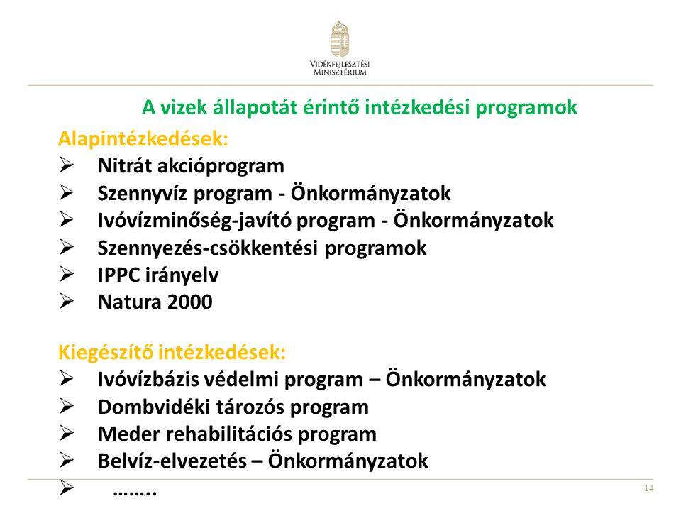 14 Alapintézkedések:  Nitrát akcióprogram  Szennyvíz program - Önkormányzatok  Ivóvízminőség-javító program - Önkormányzatok  Szennyezés-csökkenté