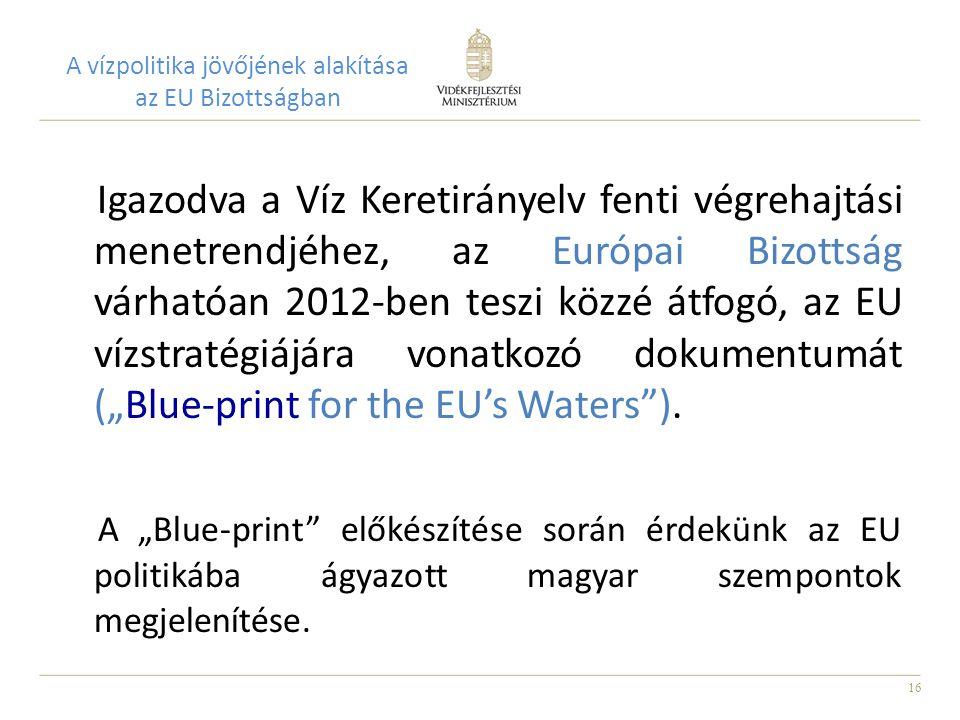 """16 A vízpolitika jövőjének alakítása az EU Bizottságban Igazodva a Víz Keretirányelv fenti végrehajtási menetrendjéhez, az Európai Bizottság várhatóan 2012-ben teszi közzé átfogó, az EU vízstratégiájára vonatkozó dokumentumát (""""Blue-print for the EU's Waters )."""