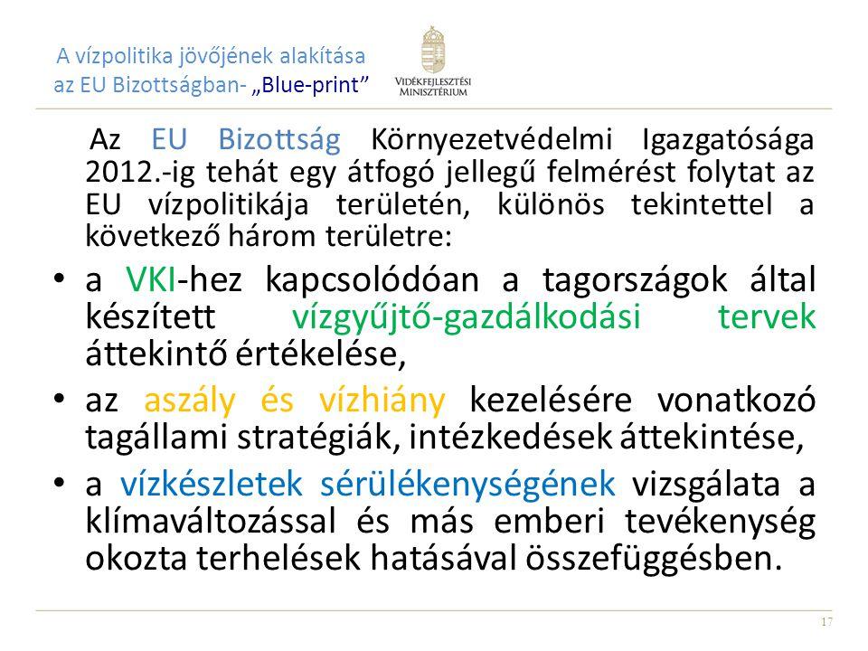 """17 A vízpolitika jövőjének alakítása az EU Bizottságban- """"Blue-print Az EU Bizottság Környezetvédelmi Igazgatósága 2012.-ig tehát egy átfogó jellegű felmérést folytat az EU vízpolitikája területén, különös tekintettel a következő három területre: a VKI-hez kapcsolódóan a tagországok által készített vízgyűjtő-gazdálkodási tervek áttekintő értékelése, az aszály és vízhiány kezelésére vonatkozó tagállami stratégiák, intézkedések áttekintése, a vízkészletek sérülékenységének vizsgálata a klímaváltozással és más emberi tevékenység okozta terhelések hatásával összefüggésben."""
