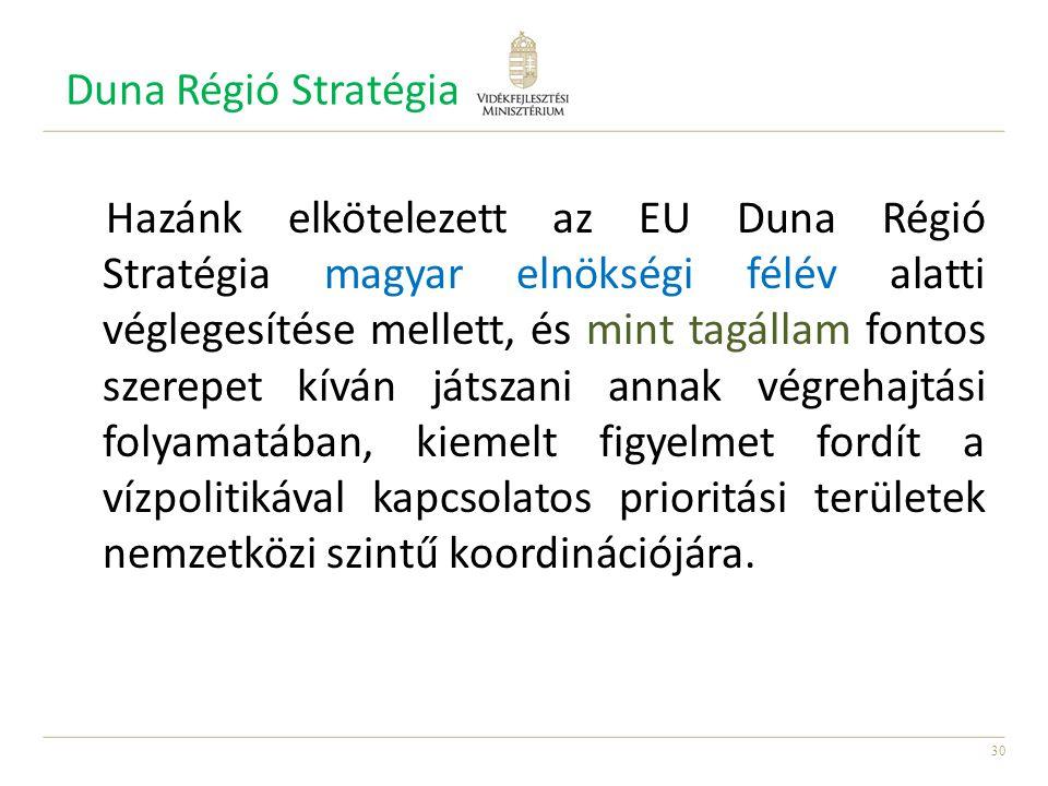 30 Duna Régió Stratégia Hazánk elkötelezett az EU Duna Régió Stratégia magyar elnökségi félév alatti véglegesítése mellett, és mint tagállam fontos sz