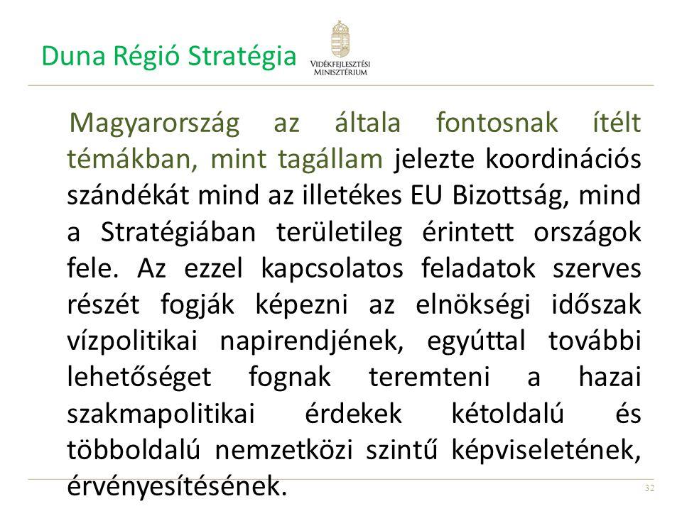 32 Duna Régió Stratégia Magyarország az általa fontosnak ítélt témákban, mint tagállam jelezte koordinációs szándékát mind az illetékes EU Bizottság, mind a Stratégiában területileg érintett országok fele.