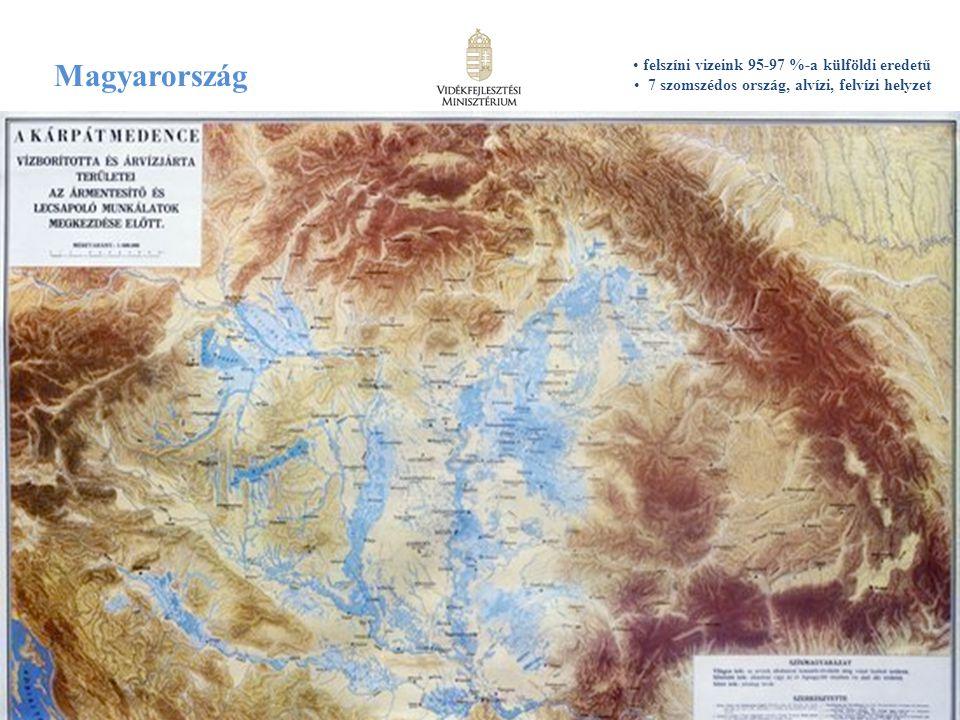 6 Magyarország felszíni vizeink 95-97 %-a külföldi eredetű 7 szomszédos ország, alvízi, felvízi helyzet