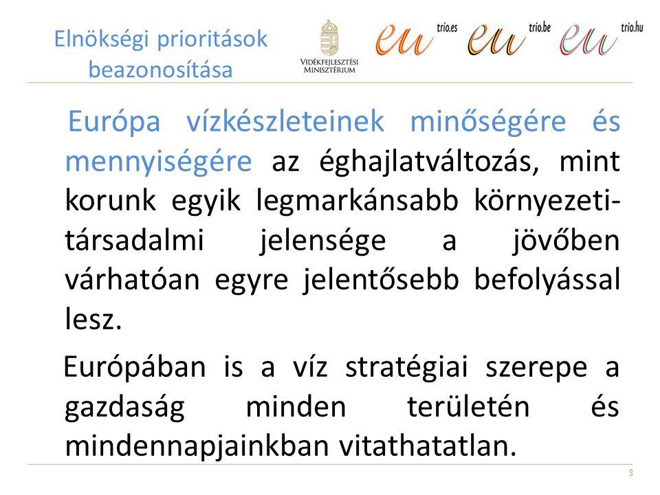 19 Vízpolitika - A magyar EU elnökségi időszak prioritási területei 1.Az éghajlatváltozás és vízpolitika 2.Ökológiai vízigények, ökológiai szolgáltatások 3.Nemzetközi együttműködés