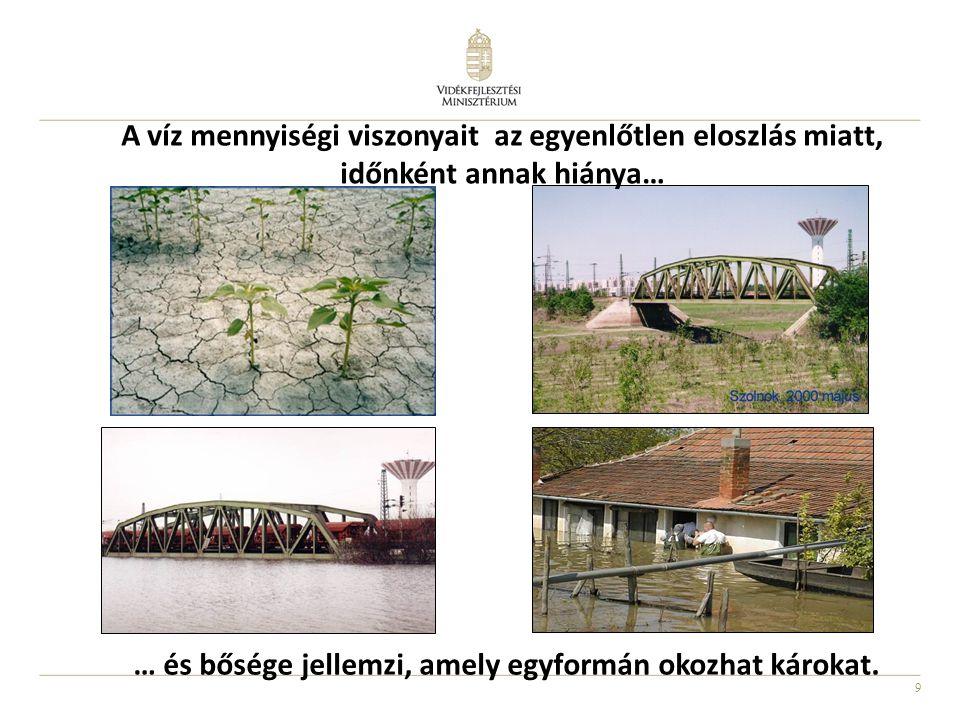 9 … és bősége jellemzi, amely egyformán okozhat károkat. A víz mennyiségi viszonyait az egyenlőtlen eloszlás miatt, időnként annak hiánya…