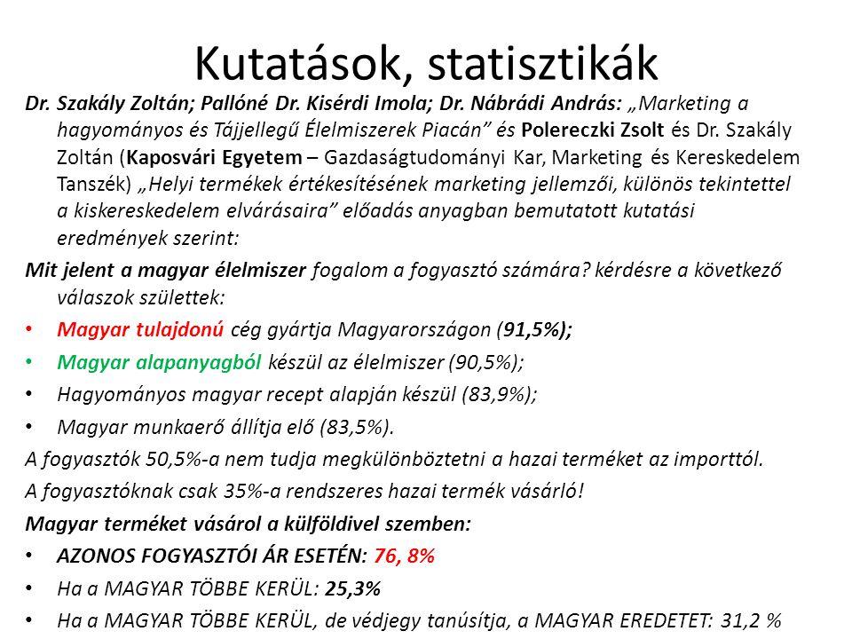 Kutatások, statisztikák Dr. Szakály Zoltán; Pallóné Dr.