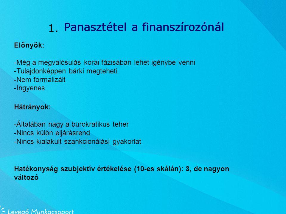 Panasztétel a finanszírozónál Előnyök: -Még a megvalósulás korai fázisában lehet igénybe venni -Tulajdonképpen bárki megteheti -Nem formalizált -Ingyenes Hátrányok: -Általában nagy a bürokratikus teher -Nincs külön eljárásrend -Nincs kialakult szankcionálási gyakorlat 1.
