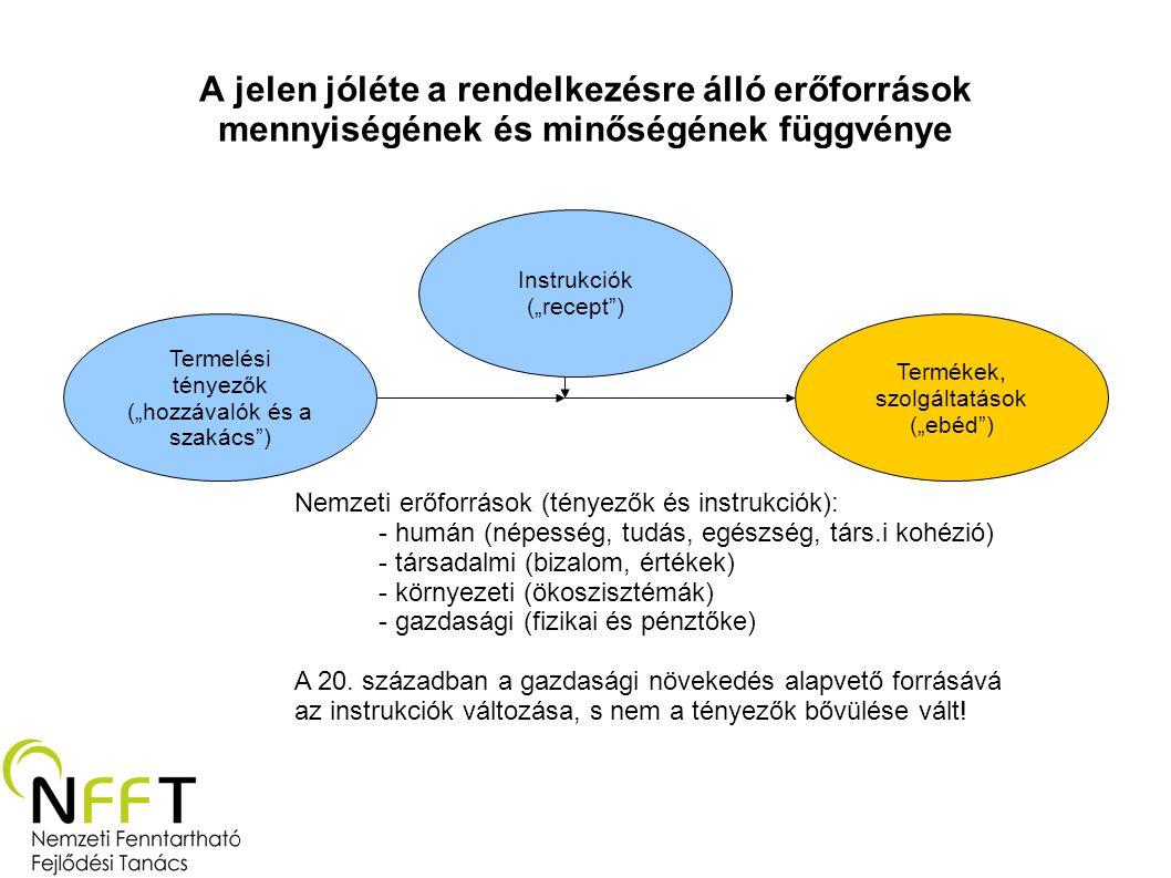 """A jelen jóléte a rendelkezésre álló erőforrások mennyiségének és minőségének függvénye Termelési tényezők (""""hozzávalók és a szakács ) Instrukciók (""""recept ) Termékek, szolgáltatások (""""ebéd ) Nemzeti erőforrások (tényezők és instrukciók): - humán (népesség, tudás, egészség, társ.i kohézió) - társadalmi (bizalom, értékek) - környezeti (ökoszisztémák) - gazdasági (fizikai és pénztőke) A 20."""