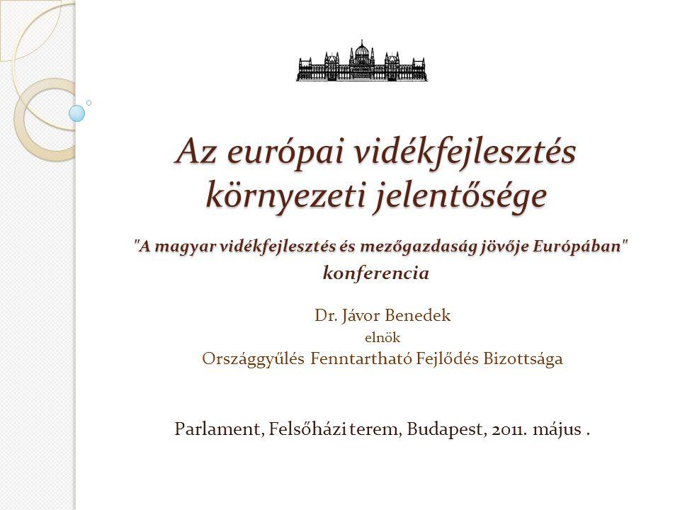 Az európai vidékfejlesztés környezeti jelentősége A magyar vidékfejlesztés és mezőgazdaság jövője Európában Az európai vidékfejlesztés környezeti jelentősége A magyar vidékfejlesztés és mezőgazdaság jövője Európában konferencia Dr.