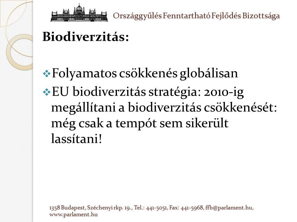 Biodiverzitás:  Folyamatos csökkenés globálisan  EU biodiverzitás stratégia: 2010-ig megállítani a biodiverzitás csökkenését: még csak a tempót sem sikerült lassítani!