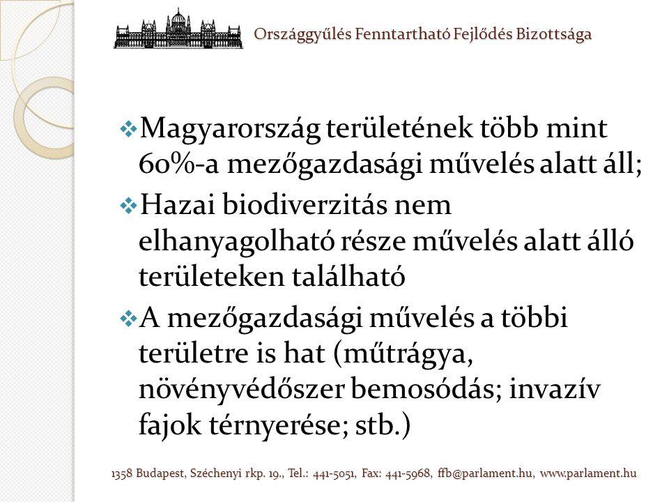  Magyarország területének több mint 60%-a mezőgazdasági művelés alatt áll;  Hazai biodiverzitás nem elhanyagolható része művelés alatt álló területeken található  A mezőgazdasági művelés a többi területre is hat (műtrágya, növényvédőszer bemosódás; invazív fajok térnyerése; stb.)