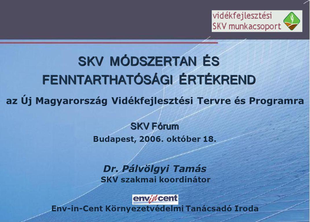 SKV MÓDSZERTAN ÉS FENNTARTHATÓSÁGI ÉRTÉKREND az Új Magyarország Vidékfejlesztési Tervre és Programra SKV Fórum Budapest, 2006.