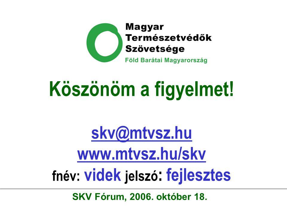 Köszönöm a figyelmet! skv@mtvsz.hu www.mtvsz.hu/skv fnév: videk jelszó : fejlesztes skv@mtvsz.hu www.mtvsz.hu/skv SKV Fórum, 2006. október 18.