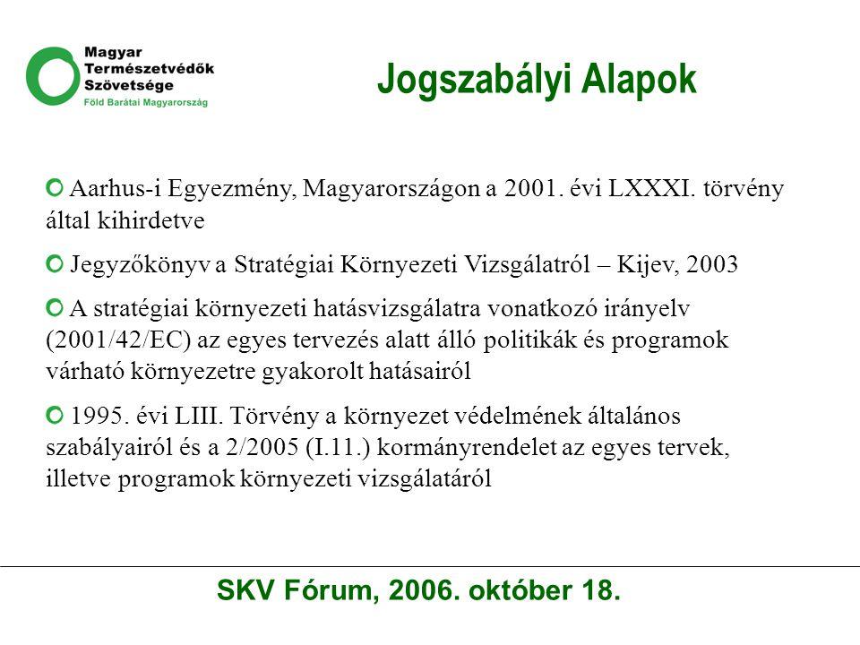 Jogszabályi Alapok Aarhus-i Egyezmény, Magyarországon a 2001. évi LXXXI. törvény által kihirdetve Jegyzőkönyv a Stratégiai Környezeti Vizsgálatról – K