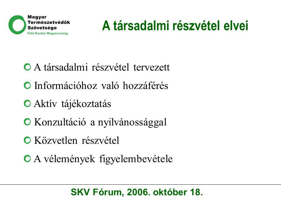 A társadalmi részvétel elvei A társadalmi részvétel tervezett Információhoz való hozzáférés Aktív tájékoztatás Konzultáció a nyilvánossággal Közvetlen részvétel A vélemények figyelembevétele SKV Fórum, 2006.