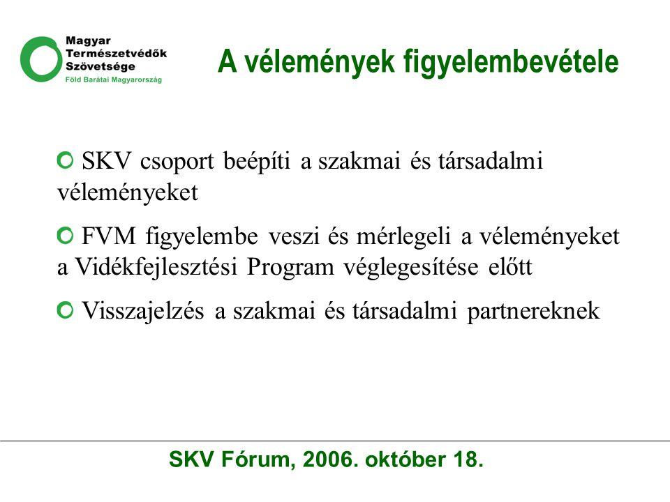 A vélemények figyelembevétele SKV csoport beépíti a szakmai és társadalmi véleményeket FVM figyelembe veszi és mérlegeli a véleményeket a Vidékfejlesztési Program véglegesítése előtt Visszajelzés a szakmai és társadalmi partnereknek SKV Fórum, 2006.