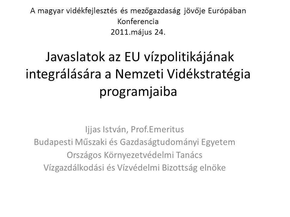 Hozzászólás tárgya: Gondolatok az EU vízpolitikájának figyelembe vételéhez a Nemzeti Vidékstratégia programjainak kidolgozásakor Az EU vízpolitikájának prioritási területei általában megegyeznek a nemzeti prioritásokkal.