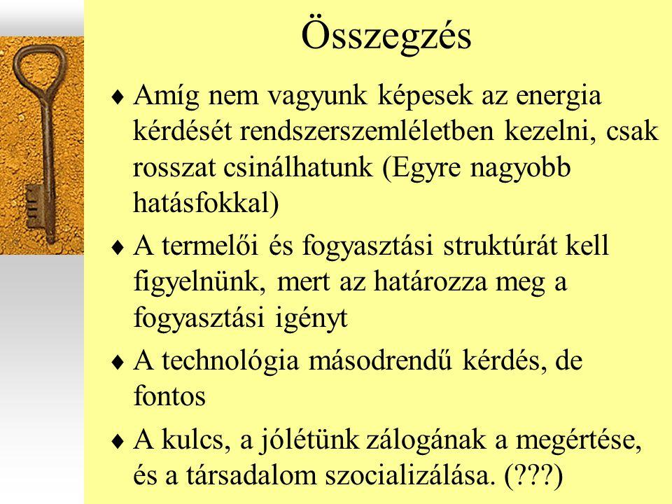 Összegzés  Amíg nem vagyunk képesek az energia kérdését rendszerszemléletben kezelni, csak rosszat csinálhatunk (Egyre nagyobb hatásfokkal)  A terme