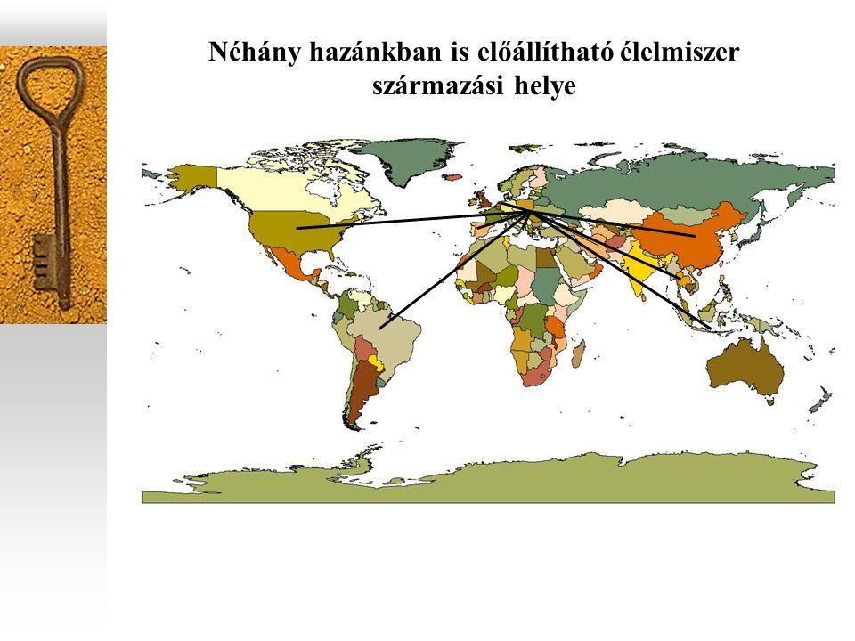termék származási helymegtett út (km) őszibarack Spanyolország 2000 zöld alma Olaszország 800 dinnye Görögország1100 sárgarépa Hollandia 1160 zöldpaprika Marokkó 2700 mazsola Irán 3000 fokhagyma földimogyoró Kína 7300 csirkehúsBrazília12000 szőlő Olaszország 800 körte Olaszország 800 tésztás leves(instant)Vietnam 8000 gombakonzerv Kína 7300 szőlőzselé lekvárEgyesült Államok 7000-10000 gyöngyhagyma konzervOlaszország 800 fehérboros káposztakonzerv Németország 700-950 salátaöntetHollandia 1160 c h ilis babSvájc 800 csirkés salátaFranciaország 1200 rizsIndonézia 10300 olajos halThaiföld 8200