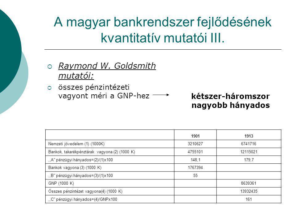 A magyar bankrendszer fejlődésének kvantitatív mutatói III.  Raymond W. Goldsmith mutatói:  összes pénzintézeti vagyont méri a GNP-hez kétszer-három