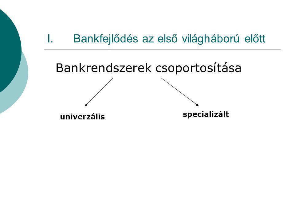 I.Bankfejlődés az első világháború előtt Bankrendszerek csoportosítása univerzális specializált