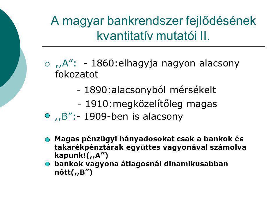 """A magyar bankrendszer fejlődésének kvantitatív mutatói II. ,,A"""": - 1860:elhagyja nagyon alacsony fokozatot - 1890:alacsonyból mérsékelt - 1910:megköz"""
