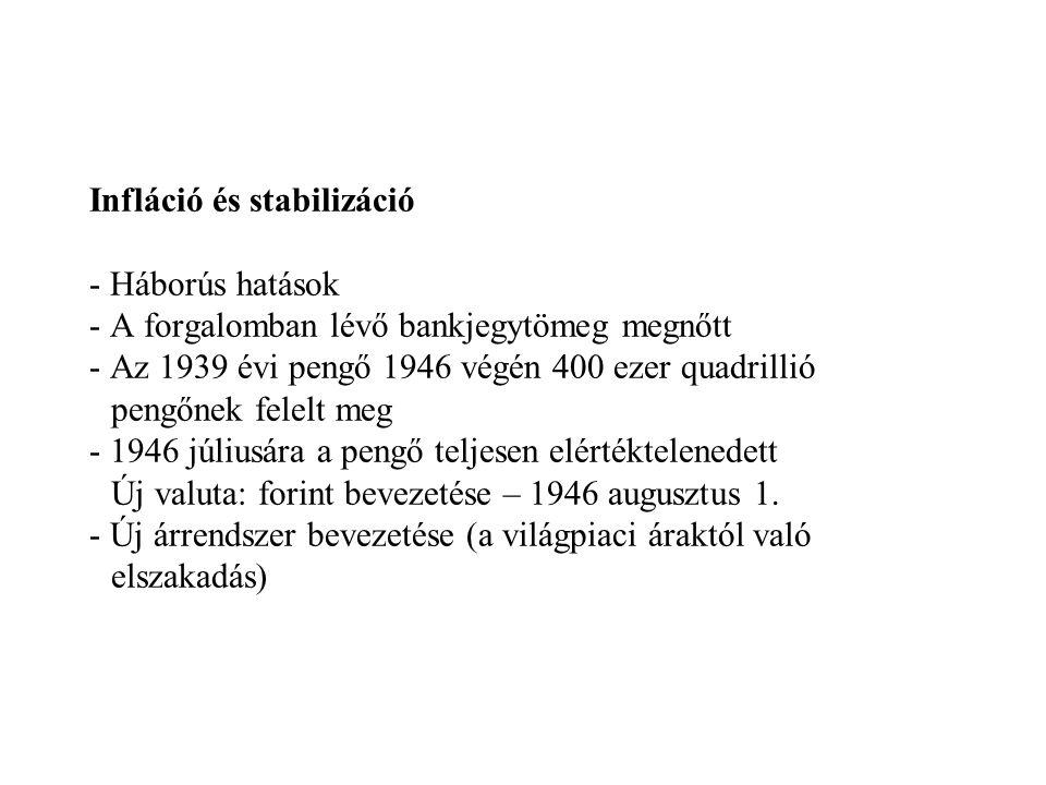 Infláció és stabilizáció - Háborús hatások - A forgalomban lévő bankjegytömeg megnőtt - Az 1939 évi pengő 1946 végén 400 ezer quadrillió pengőnek fele