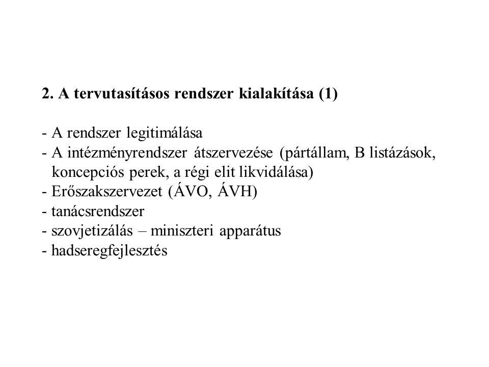 2. A tervutasításos rendszer kialakítása (1) - A rendszer legitimálása - A intézményrendszer átszervezése (pártállam, B listázások, koncepciós perek,