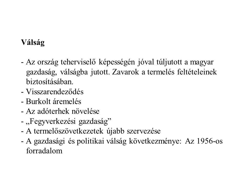 Válság - Az ország teherviselő képességén jóval túljutott a magyar gazdaság, válságba jutott. Zavarok a termelés feltételeinek biztosításában. - Vissz