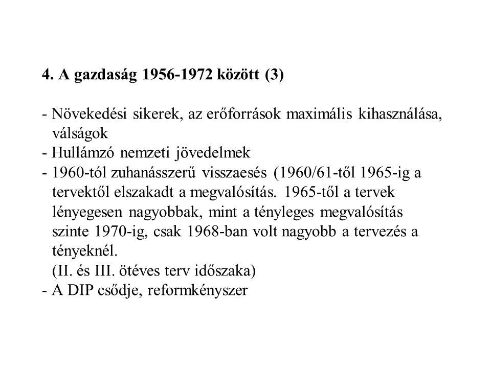 4. A gazdaság 1956-1972 között (3) - Növekedési sikerek, az erőforrások maximális kihasználása, válságok - Hullámzó nemzeti jövedelmek - 1960-tól zuha