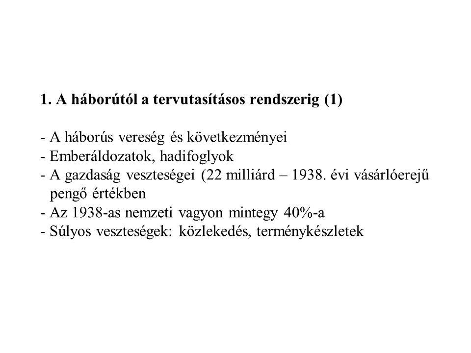 1. A háborútól a tervutasításos rendszerig (1) - A háborús vereség és következményei - Emberáldozatok, hadifoglyok - A gazdaság veszteségei (22 milliá