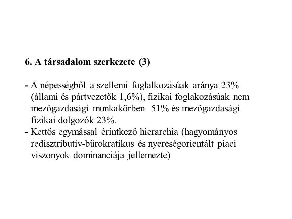 6. A társadalom szerkezete (3) - A népességből a szellemi foglalkozásúak aránya 23% (állami és pártvezetők 1,6%), fizikai foglakozásúak nem mezőgazdas