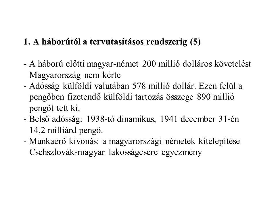 1. A háborútól a tervutasításos rendszerig (5) - A háború előtti magyar-német 200 millió dolláros követelést Magyarország nem kérte - Adósság külföldi