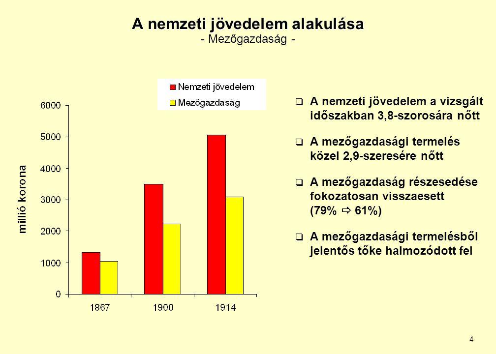 4 A nemzeti jövedelem alakulása A nemzeti jövedelem alakulása - Mezőgazdaság -  A nemzeti jövedelem a vizsgált időszakban 3,8-szorosára nőtt  A mező