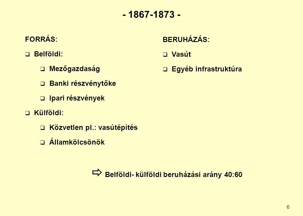 6 - 1867-1873 - FORRÁS:  Belföldi:  Mezőgazdaság  Banki részvénytőke  Ipari részvények  Külföldi:  Közvetlen pl.: vasútépítés  Államkölcsönök B