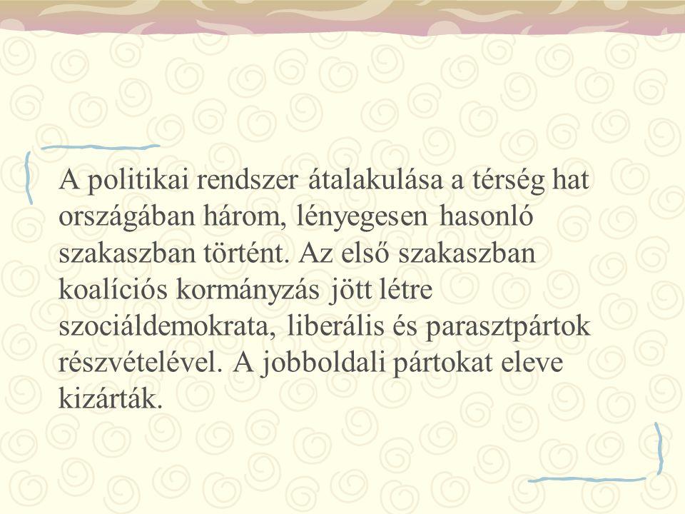 A politikai rendszer átalakulása a térség hat országában három, lényegesen hasonló szakaszban történt. Az első szakaszban koalíciós kormányzás jött lé