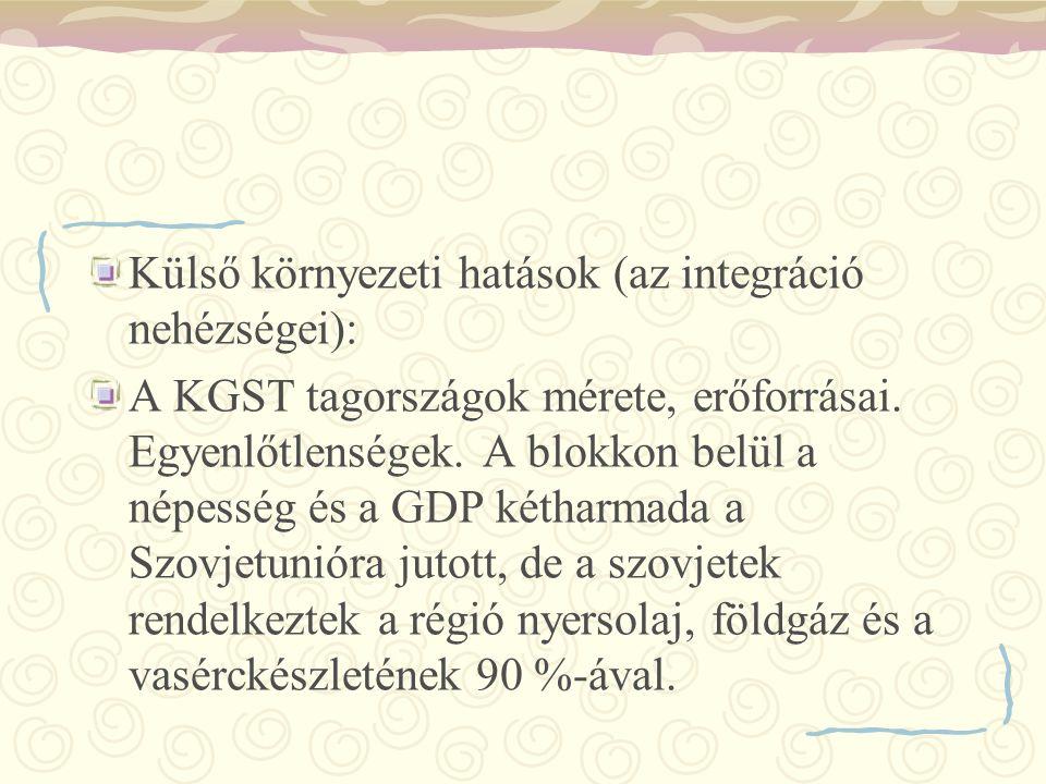 Külső környezeti hatások (az integráció nehézségei): A KGST tagországok mérete, erőforrásai. Egyenlőtlenségek. A blokkon belül a népesség és a GDP két