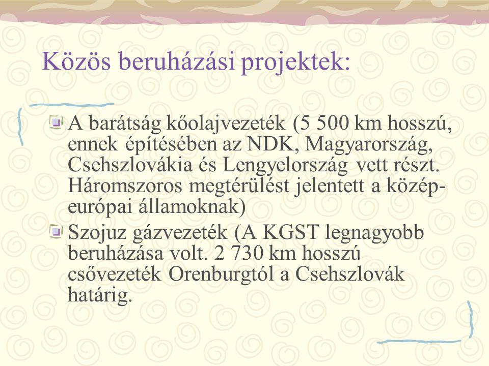 Közös beruházási projektek: A barátság kőolajvezeték (5 500 km hosszú, ennek építésében az NDK, Magyarország, Csehszlovákia és Lengyelország vett rész