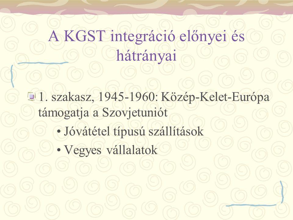 A KGST integráció előnyei és hátrányai 1. szakasz, 1945-1960: Közép-Kelet-Európa támogatja a Szovjetuniót Jóvátétel típusú szállítások Vegyes vállalat