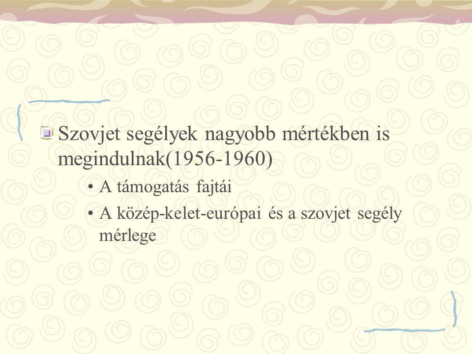Szovjet segélyek nagyobb mértékben is megindulnak(1956-1960) A támogatás fajtái A közép-kelet-európai és a szovjet segély mérlege
