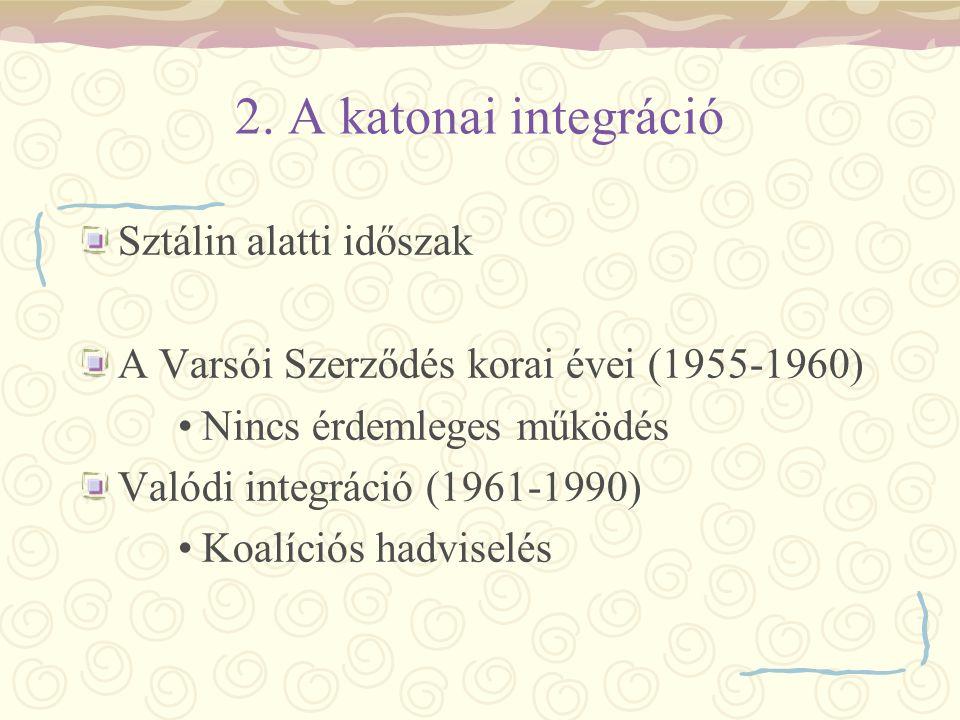 2. A katonai integráció Sztálin alatti időszak A Varsói Szerződés korai évei (1955-1960) Nincs érdemleges működés Valódi integráció (1961-1990) Koalíc