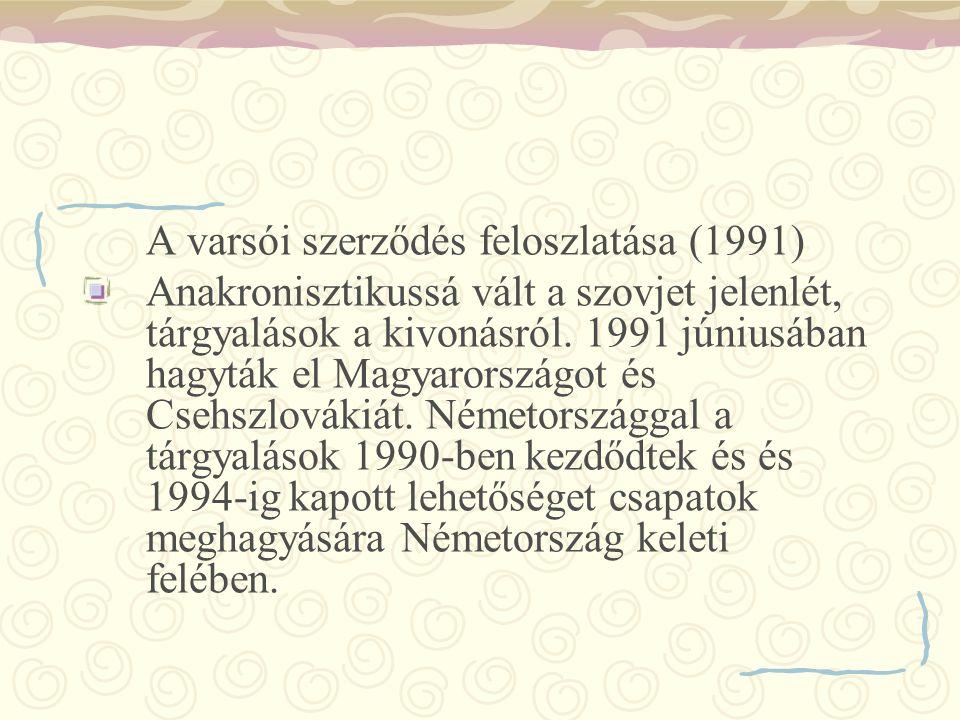 A varsói szerződés feloszlatása (1991) Anakronisztikussá vált a szovjet jelenlét, tárgyalások a kivonásról. 1991 júniusában hagyták el Magyarországot