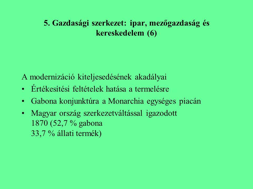 5. Gazdasági szerkezet: ipar, mezőgazdaság és kereskedelem (6) A modernizáció kiteljesedésének akadályai Értékesítési feltételek hatása a termelésre G