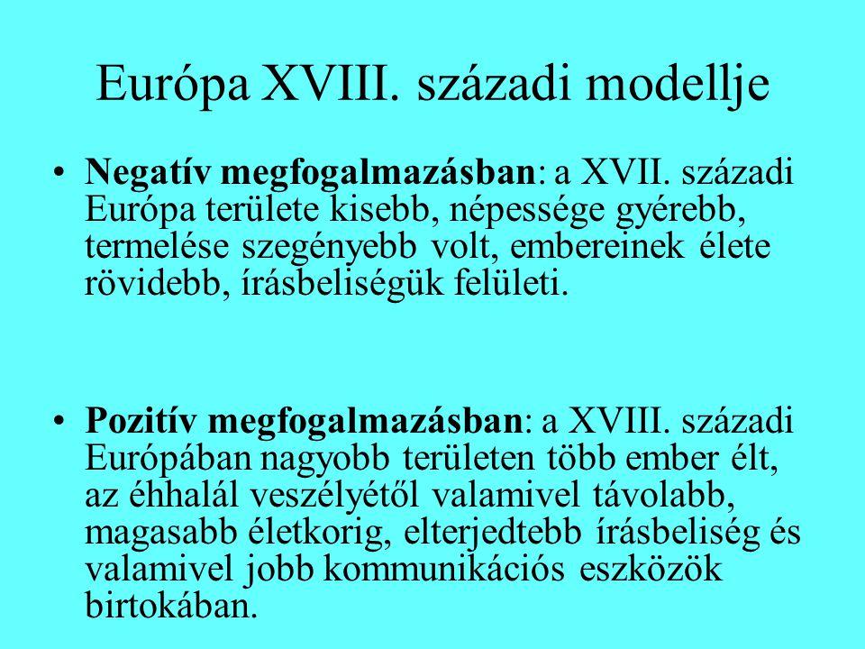 Európa XVIII. századi modellje Negatív megfogalmazásban: a XVII.