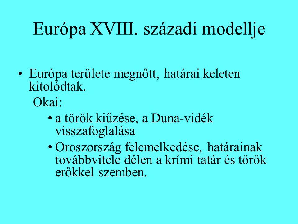 Európa XVIII. századi modellje Európa területe megnőtt, határai keleten kitolódtak.