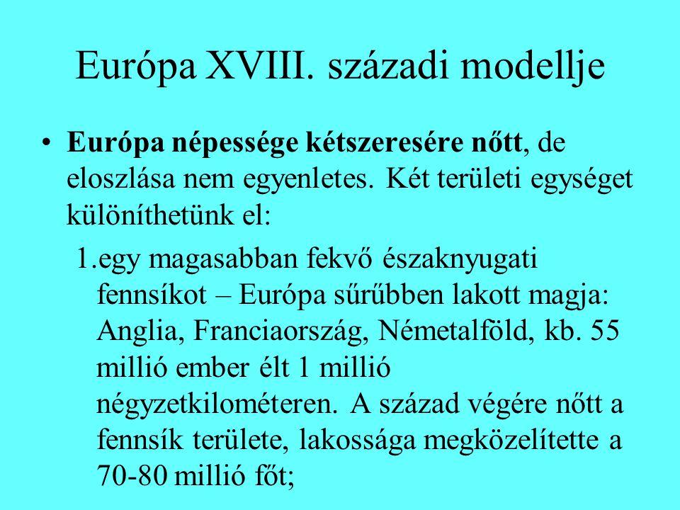 Európa XVIII. századi modellje Európa népessége kétszeresére nőtt, de eloszlása nem egyenletes.